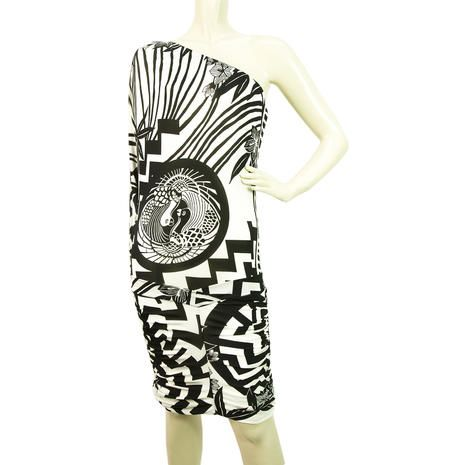 NWT New PINKO White Black One Shoulder mini dress sz M