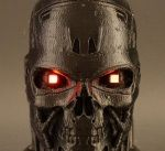 This 3D printed conductive Terminator head with blood-red LED eyes is ideal for Halloween   http://www.3ders.org/articles/20161028-this-3d-printed-conductive-terminator-head-with-blood-red-led-eyes-is-ideal-for-halloween.html