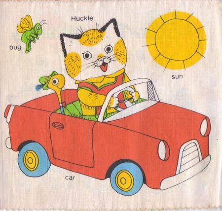 Vintage fabric cloth childrens book by Richard Scarry, Huckle's Book.