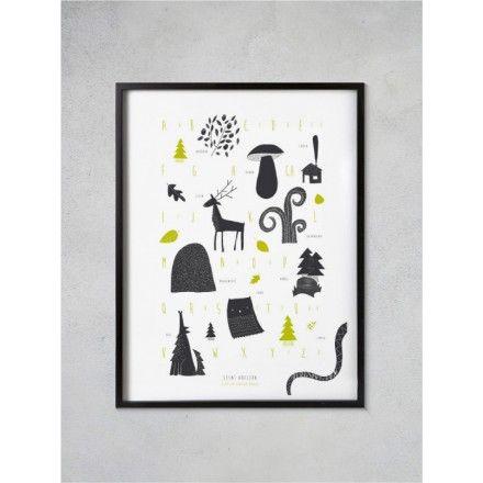 Lesní abeceda / autorský plakát - artprint - Popout.cz #popoutcz #zlesa #artprint #forkids #handmade #madeinczech #czechdesign #popoutdesignmarket