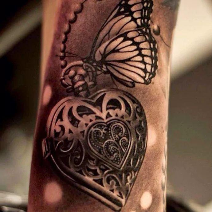 Image result for heart locket tattoo