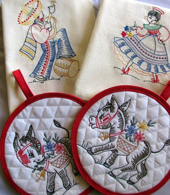 Embroidered Retro Inspired Mexican Kitchen by MamasSewingRoom, $29.50