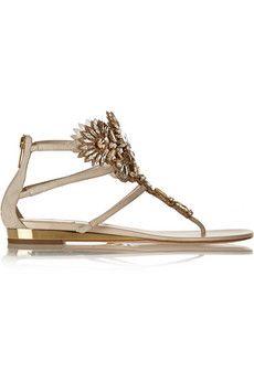 RenA� Caovilla Swarovski crystal-embellished suede sandals | NET-A-PORTER