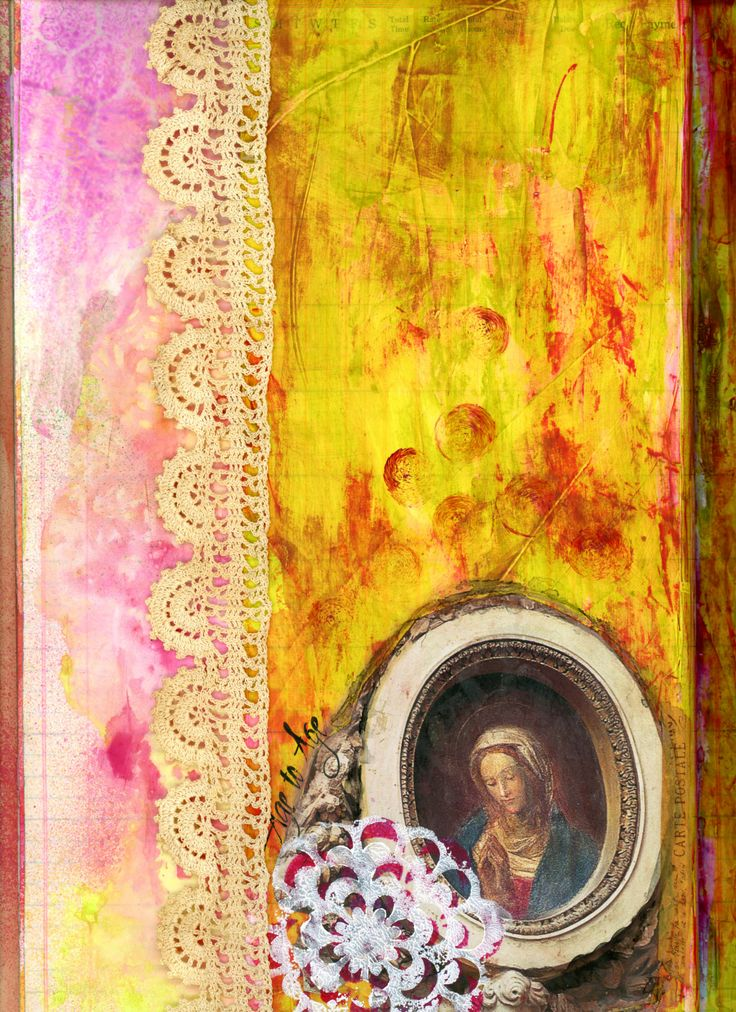 """Vintage Time Book Journal - Page 1 of 2 """"Lifted from Here"""" - Acrylics, stencils, collage and lace.  BananaCurlGirl.com"""