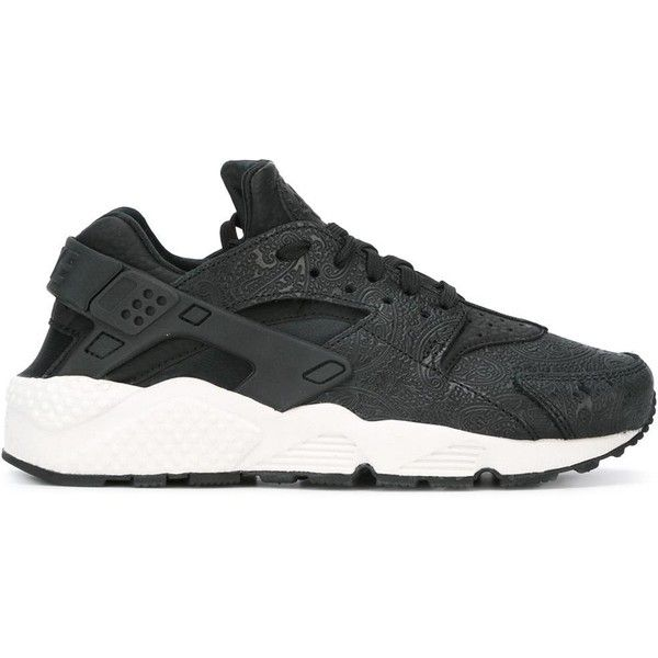 Nike Air Huarache Run Premium sneakers ($185) ❤ liked on Polyvore featuring shoes, sneakers, black, black trainers, lace up sneakers, black leather trainers, black lace up sneakers and nike trainers