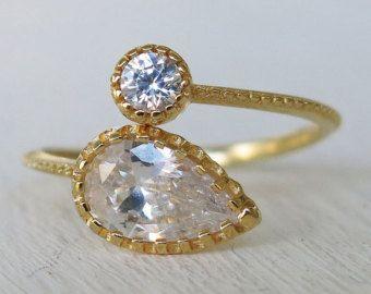 gouden ring Swarovski ring crystal ring boho ringen door sohocraft
