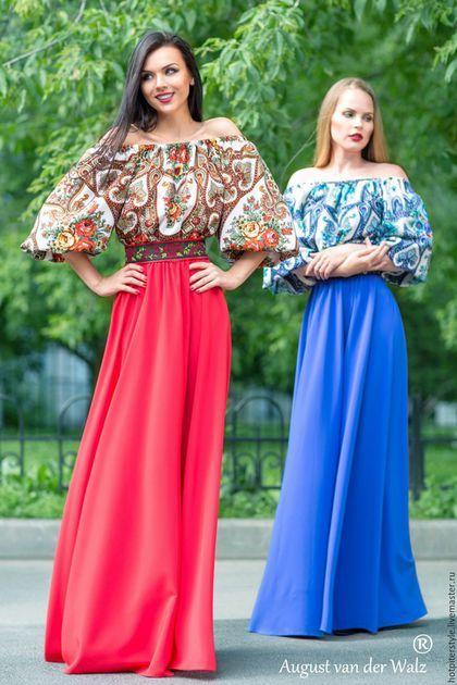 """Платье в Русском стиле """"Тургеневская Девушка"""", А-ля Русс , из платков."""
