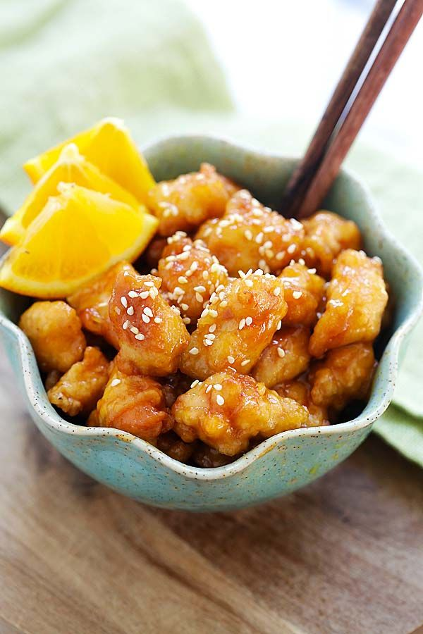 Orange chicken - easy homemade orange chicken recipe that takes 30 mins to make. It's healthier and much better than Panda Express and Chinese takeout   rasamalaysia.com