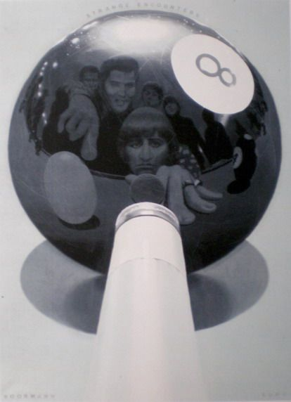 """The Beatles playing pool with Elvis"" By Klaus Voormann. In 1965 The Beatles met Elvis Presley in L A.This was arranged through Elvis' manager, Joe Esposito. There were no journalists or members of the press.There were no photos taken to commemorate the occasion. Klaus researched this meeting and spoke with Joe Esposito who described his memories of the meeting, including the pool table and jukebox.These photorealistic images Klaus painted are his interpretation of the events of that day."