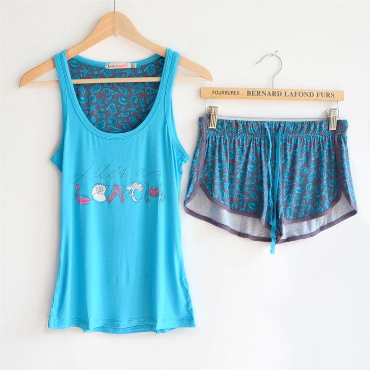Womens lettera stampa pajama sets estate casuale di marca del pigiama sets  Donna modale pantaloni di cotone pigiami pajama top e shorts s m  L(China (Mainland))