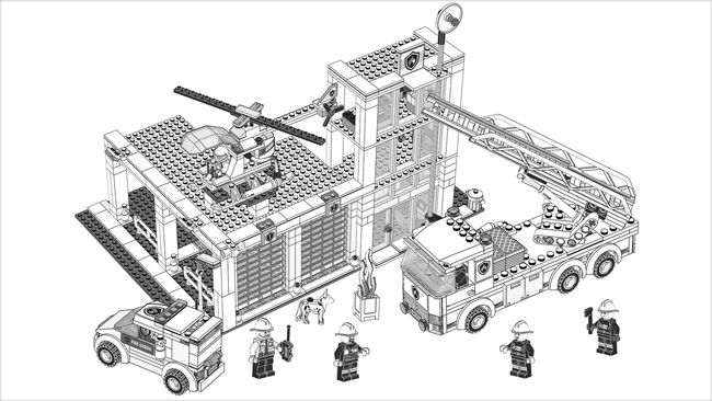 lego fire station coloring pages - photo#9