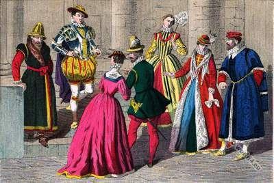 Tudor England clothing 1550 to 1580, 16th century.