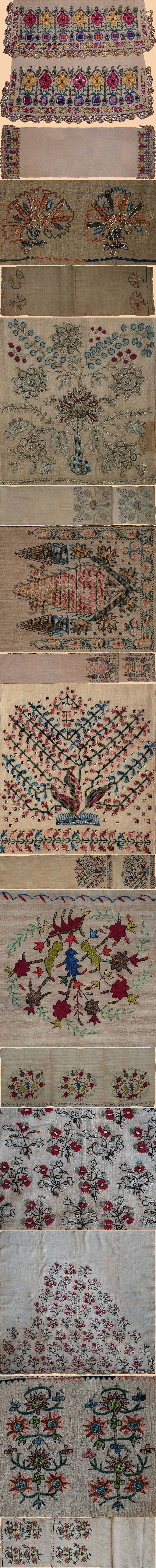 Antique Turkish Textile, Silk Embroidery with silver thread on Linen. Ottoman Dynasty 1453-1922A.D