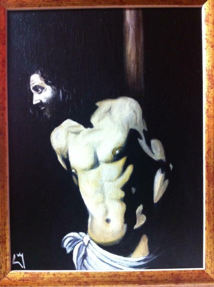 Dipinto ad olio su legno ispirato dal Cristo del Caravaggio!!