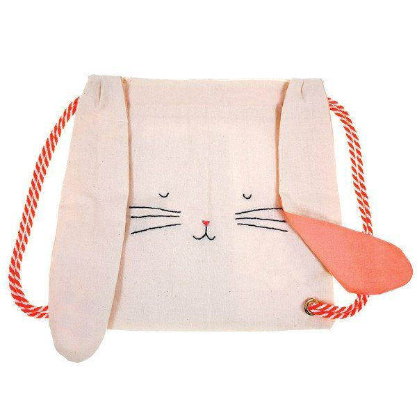 A luxury cotton canvas rucksack with cotton liner in the style of a cute bunny complete with floppy ears.The bag is embellished with stitched details and comes with stripey rope straps. - Single back