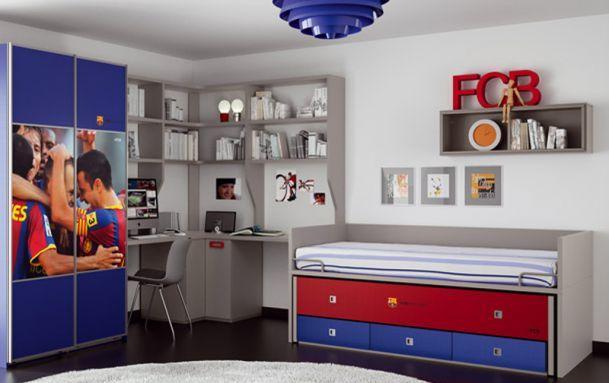 25 melhores ideias sobre quarto para meninos de futebol - Habitaciones bebe barcelona ...