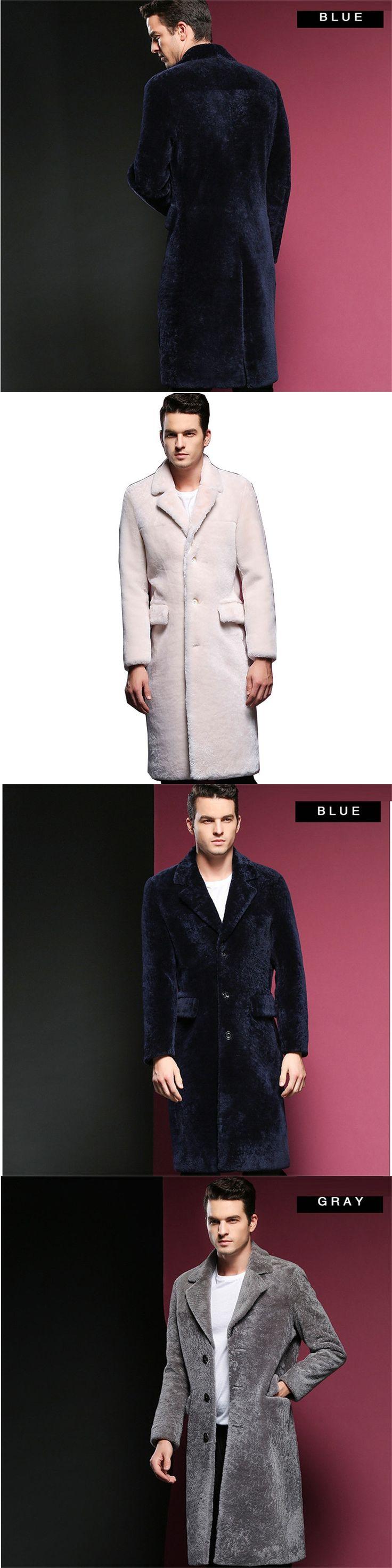 Men Fur Coat Winter 2017 Plus Size M-3XL Faux Fur Coat Men Parka Jackets Full Length Leather Overcoats With Collar Fur coats