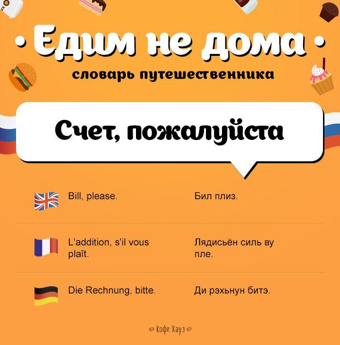#кафе #счет #путешествие #разговорник #русский #английский #французский #немецкий