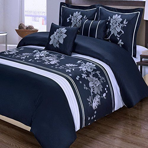 Modern Floral Navy Blue snd White Embroidered Floral 5 piece  Duvet Cover and Shams Set King Size with Decorative Pillows.  This luxury 100-percent Egyptian Cotton bedding ensemble features Embroidered White Flowers on a Navy Background  #navy and white