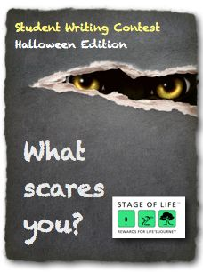 What scares you?  In honor of Halloween this month, take a few moments to share an essay about a scary moment or something in this world that truly scares you.  We're excited to read this month's entries!