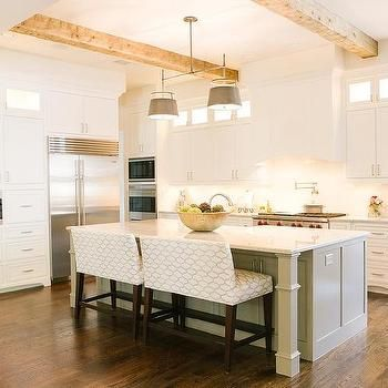 Long Kitchen Island with Two Benches, Transitional ...