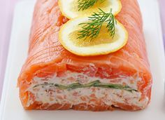 Smoked Salmon Roulade Seafood Ingredients: 200g Long sliced smoked salmon  100g Hot smoked salmon (broken into flakes) 120g Greek yoghurt 65g Cream cheese 35g Fresh chives, chopped 1 cucumber (thinly sliced)