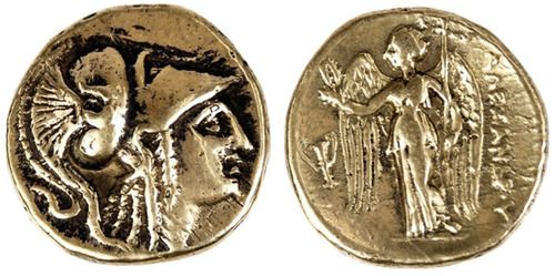 #AncientGreek Gold Stater of #AlexanderTheGreat. On the obverse, the head of the Goddess, #Athena, with facial features modeled after those of Alexander. On the reverse, a beautiful #Nike holding a scepter and a victory wreath.