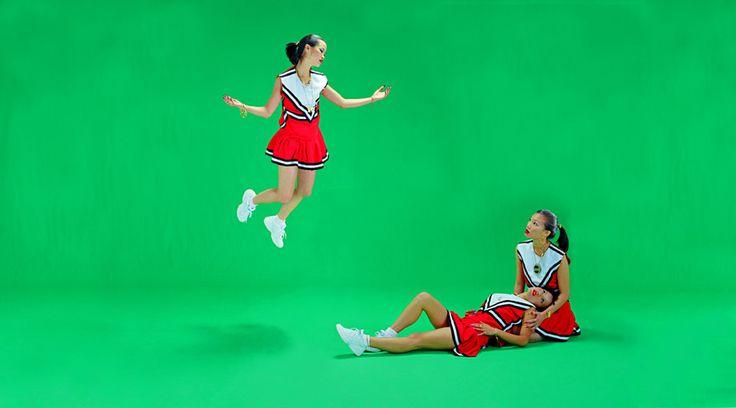 Luis Gispert, Untitled (Three Asian Cheerleaders), 2001, C-print 40 x 72 in. [101.6 x 182.88cm]