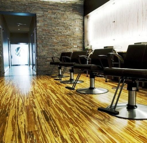 strand woven tiger bamboo flooring in a hair salon - Bamboo Wood Flooring