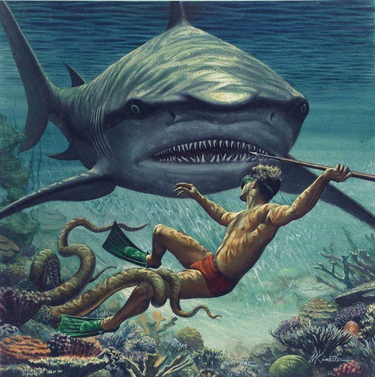 """I Fought the Sea Killer"" 1956 illustration for a men's adventure magazine by Mort Kunstler"