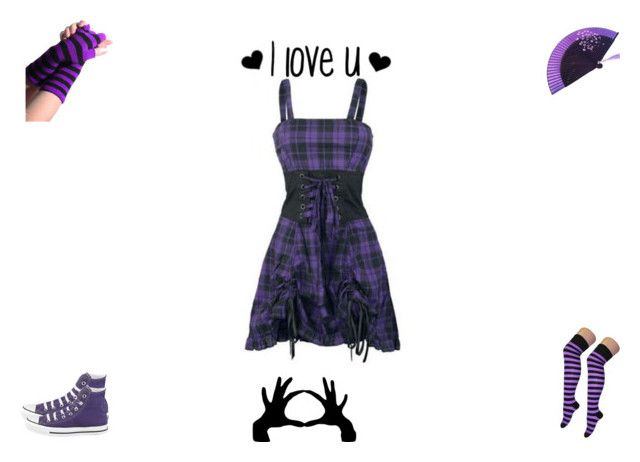 purple emo girl by mayleneholm on Polyvore featuring CO, Converse and Poizen Industries