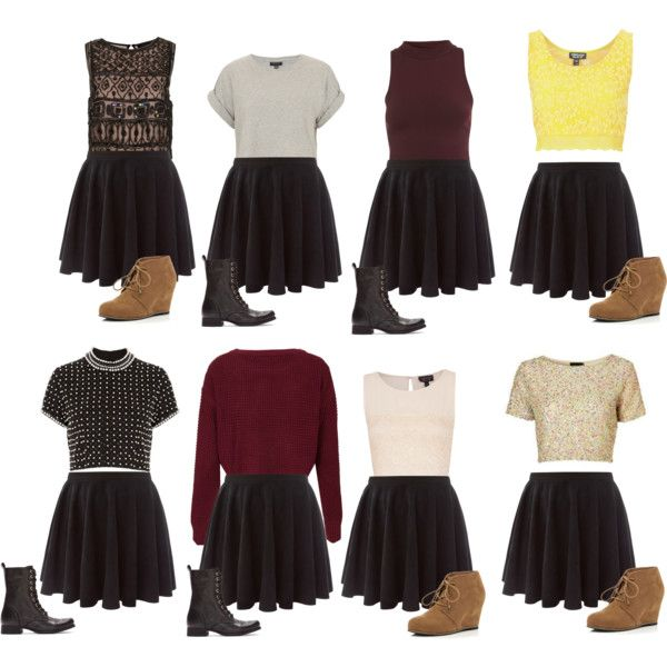 """Skater Skirt Outfits"" by ashleightb on Polyvore"