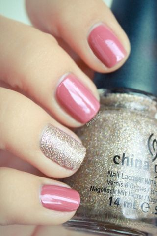 China Glaze dusty pink with accent nail