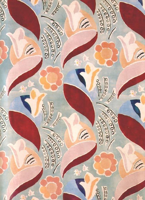 A fabric sample designed by Duncan Grant for the Queen Mary in 1936 modernist print textiles 1930s