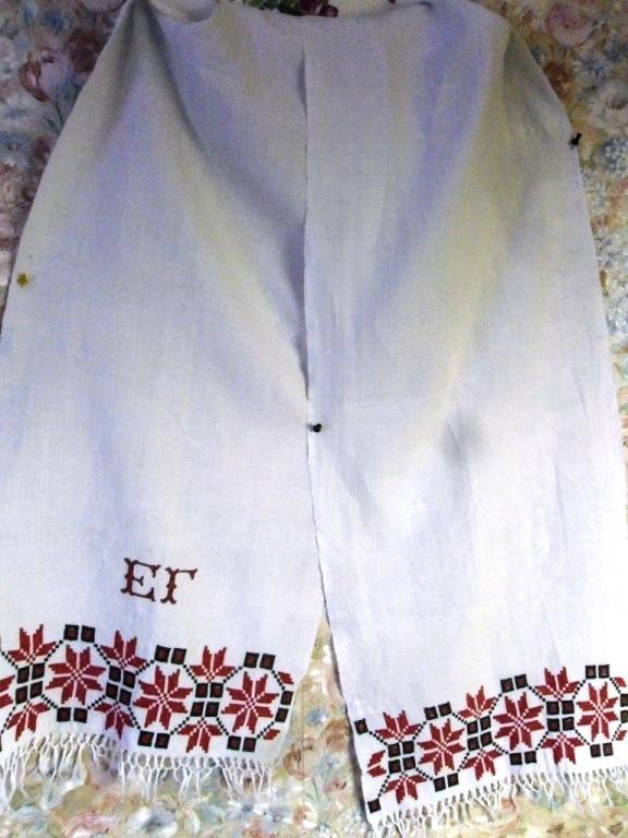 Рушник старинный с вышивкой монограмма ЕГ 205х38см. Ручная вышивка крестиком.