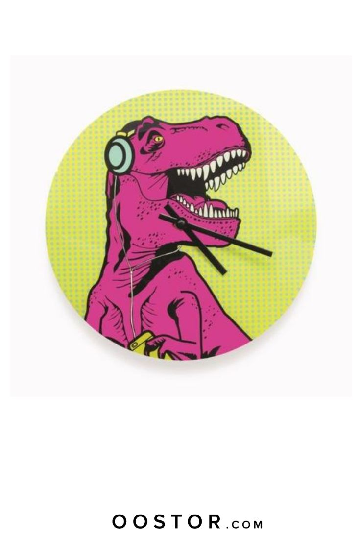 Keep track of time with our iconic trex pop art dinosaur
