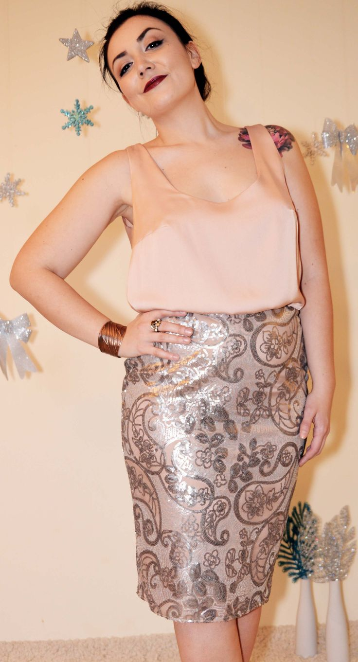 Elegant combination cocktail dress. Pencil skirt in sand and grey sequins and relaxed silk top.