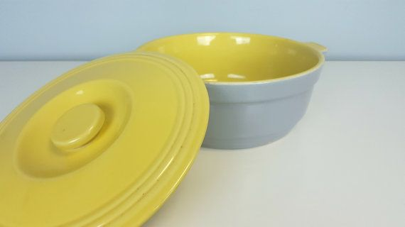 """Vintage Yellow Gray GE Refrigerators Hall Ovenware China with Lid, 10"""" Hall Bakeware Dish with Lid, Mid Century Modern Kitchen Yellow Gray"""