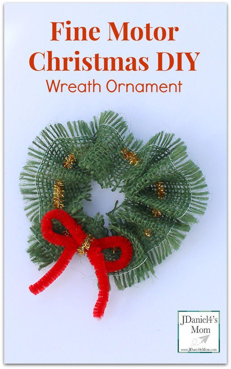 Create christmas ornament - Fine Motor Skills Christmas Diy Wreath Ornament Kids Can Easily Thread A Pipe Cleaner