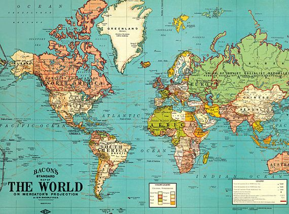 Vintage World Map.Old World Map Vintage by ModernismAndVintage