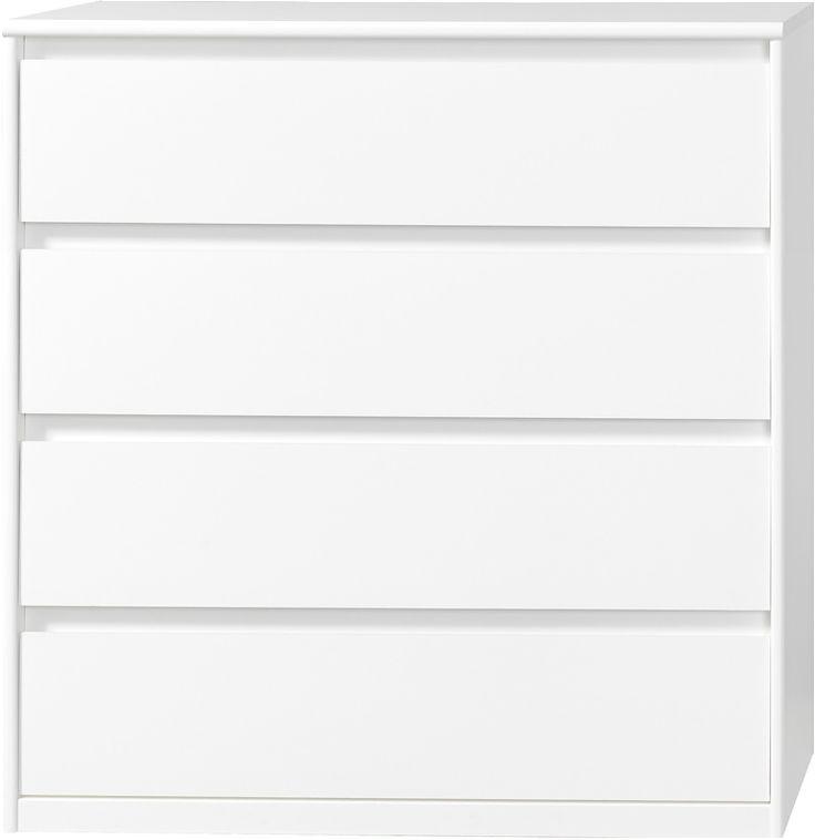 Kommode, byggbar garderobe eller nattbord til soverommetSoft Smart Kommode 22med 4 skuffer Hvit B106 D45 H110
