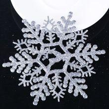 6 pz decorazioni di natale 11 cm glitter fiocco di neve per albero di natale accessori moda rifornimenti del partito di festa arbol de navidad(China (Mainland))