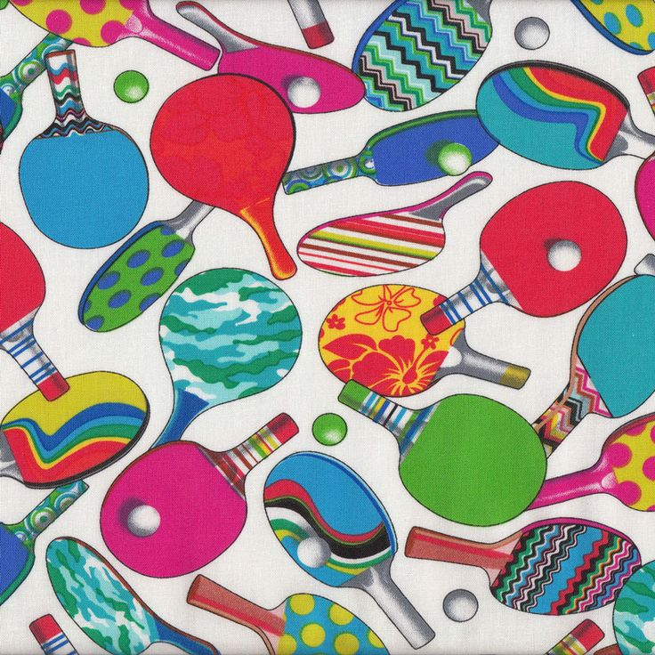 Table Tennis Ping Pong Sport Quilt Fabric - Find a Fabric. Available to purchase in Fat Quarters, Half Metre, 3/4 Metre, 1 Metre and so on.