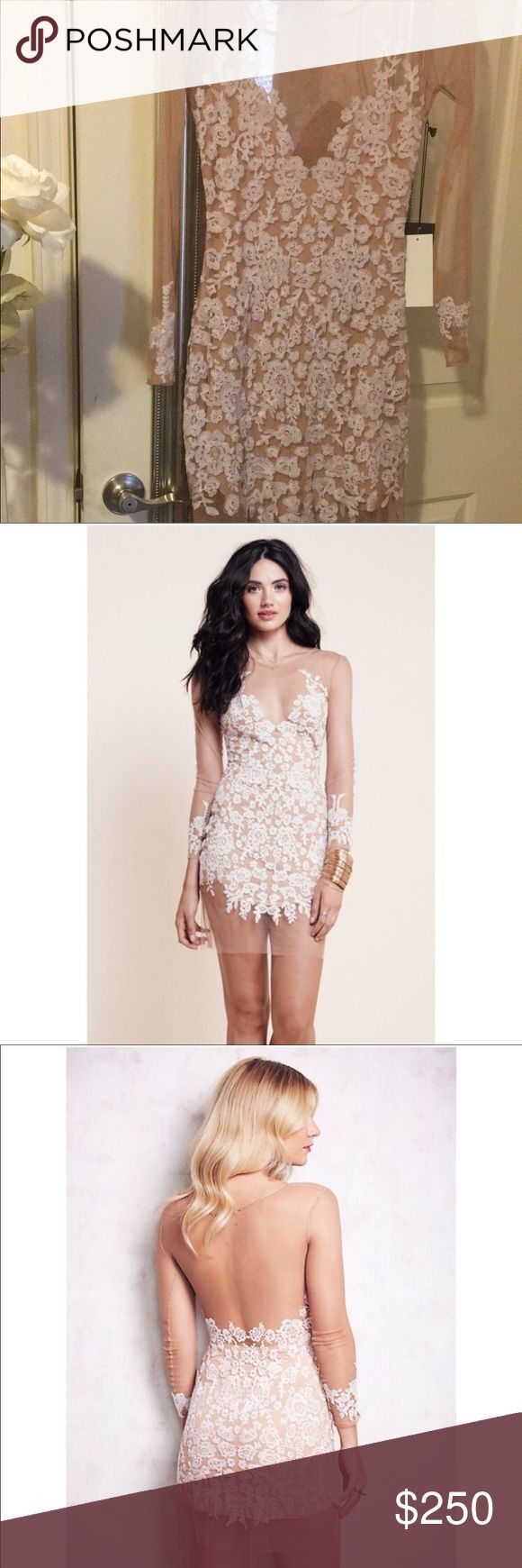 Nude Luau dress 😍 Sexy yet elegant nude dress 😍 I never got a chance to wear it, it was just hung in closet 😭💔 For Love and Lemons Dresses Midi