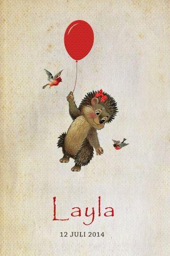 Geboortekaartje meisje - egeltje met ballon en vogeltjes - Pimpelpluis - https://www.facebook.com/pages/Pimpelpluis/188675421305550?ref=hl (# egel - vogel - ballon - strik - vintage - retro - lief - schattig - dieren - origineel)