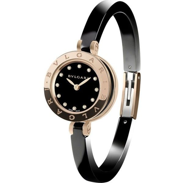 B.zero1 18ct pink-gold, stainless steel and diamond watch ($6,960) ❤ liked on Polyvore featuring jewelry, watches, accessories, bracelets, stainless steel watches, rose gold watches, blue dial watches, bracelet watches and black watches
