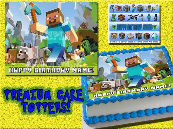 Personalized Steve Minecraft edible cake or cupcake ...