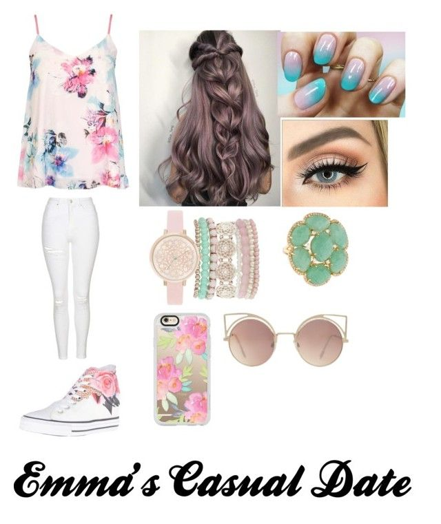 """""""Emma's Casual Date Outfit"""" by abschaffer ❤ liked on Polyvore featuring Dorothy Perkins, Topshop, Jessica Carlyle, Casetify, Converse and MANGO"""