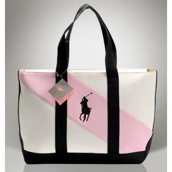 Canvas Ralph Lauren Pony Nyc Colorful Lables Tote