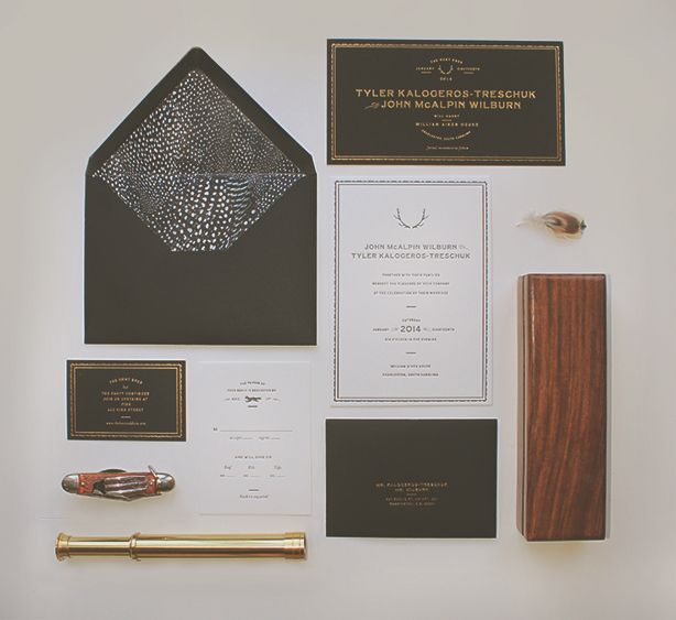 1149 best invitation design images on pinterest wedding stationery inspired by the richness of early century hunting clubs sideshow press designed this elegant high contrast letterpress wedding suite accented with gold stopboris Images